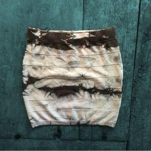 Bebe Kardashians Marble Tie-Dye Bandage Mini Skirt